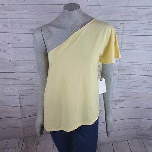 Leith Yellow One Shoulder Top Assymetrical Hem